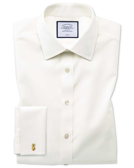 Slim fit cream non-iron poplin shirt