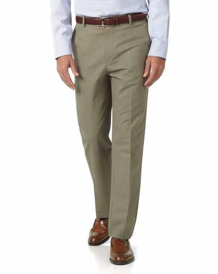 Olive classic fit flat front non-iron chinos