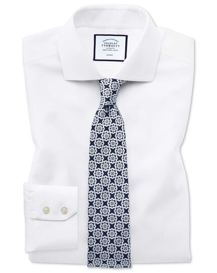 Classic fit non-iron cut-away collar white Oxford stretch shirt