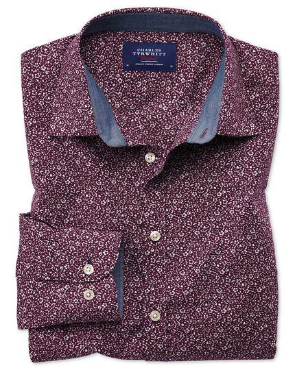 Extra Slim Fit Hemd in Lila mit Blumen-Print