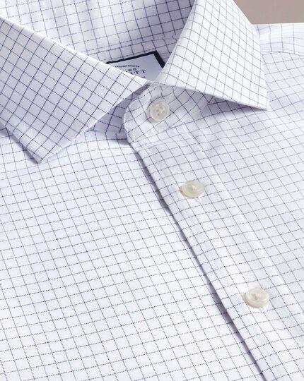 Slim fit non-iron cutaway collar navy fine check shirt