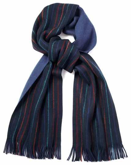 Navy stripe merino scarf