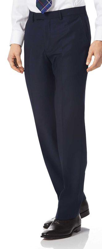 Classic Fit Anzughose aus italienischem Strukturgewebe in Marineblau