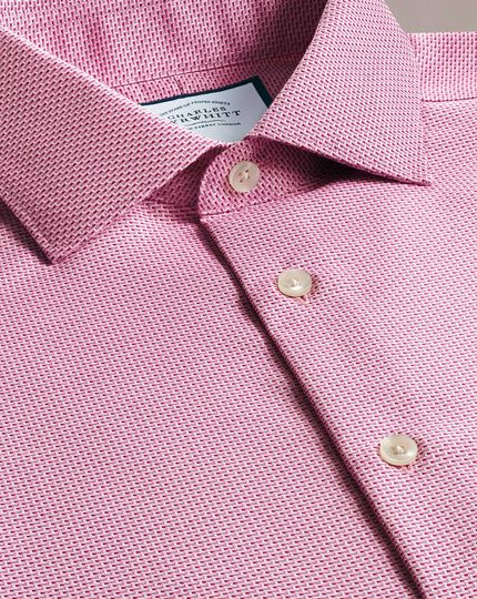 Extra slim fit semi-cutaway business casual non-iron modern textures pink dash shirt