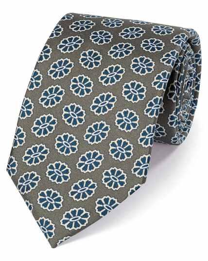 Cravate de luxe sept plis olive en soie anglaise à imprimé médaillon