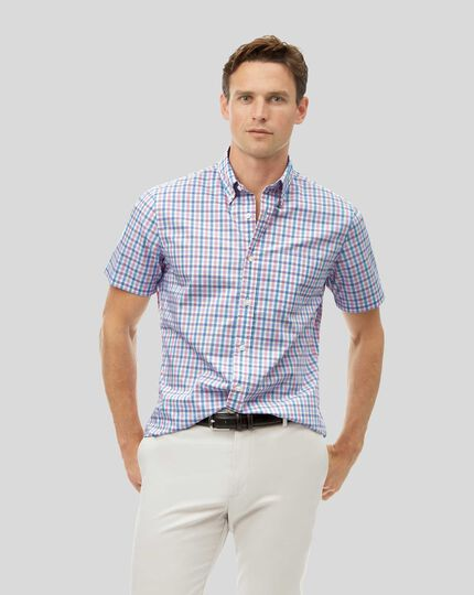 Button-Down Collar Short Sleeve Soft Washed Stretch Poplin Check Shirt - Coral & Blue