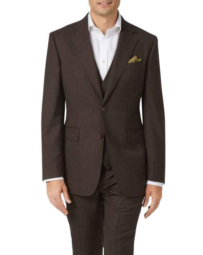 Chocolate slim fit sharkskin travel suit