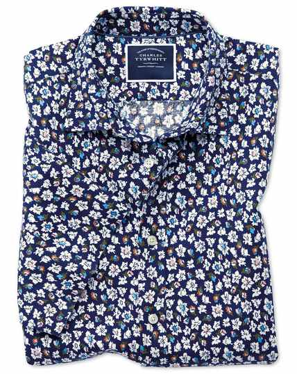 Slim fit floral print navy short sleeve linen cotton shirt