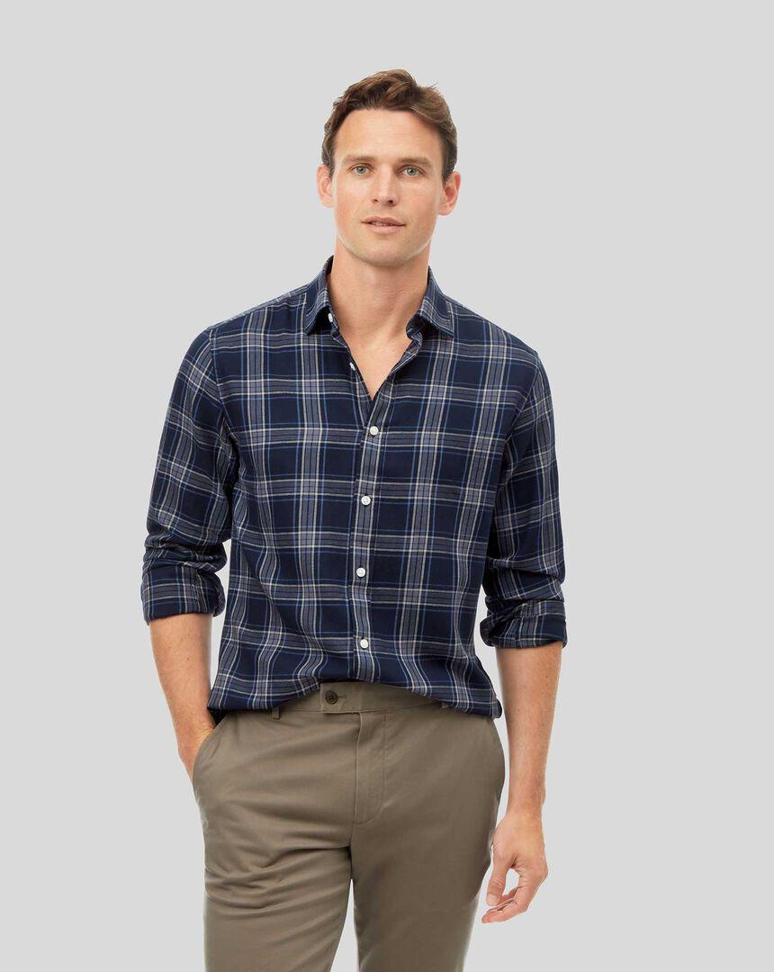 Strukturiertes Hemd mit Kent Kragen und Karos - Marineblau & Grau