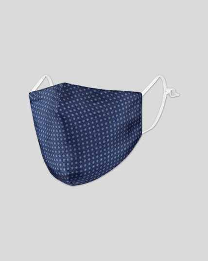 2-in-1 Behelfsmaske/Einstecktuch aus Seide - Airforce Blau