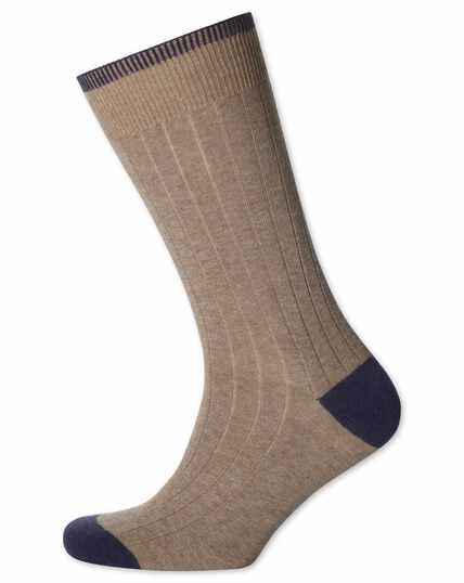 Chaussettes écrues en coton côtelé