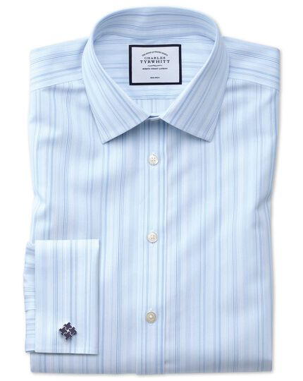 Slim fit non-iron blue multi stripe shirt