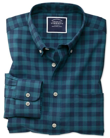 Slim fit non-iron teal gingham twill shirt