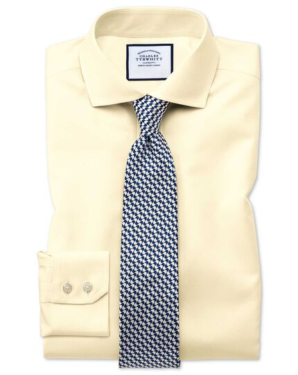 Extra slim fit cutaway collar non-iron twill yellow shirt