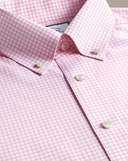 Chemise rose à grands carreaux coupe droite sans repassage