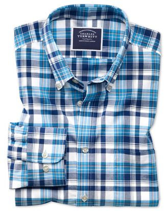 Classic fit poplin navy multi  shirt