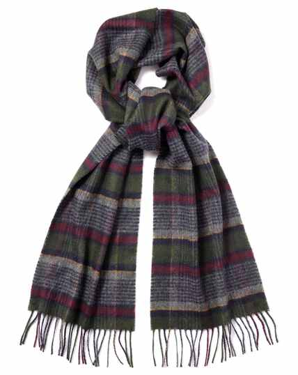 Burgundy and green check cashmere scarf