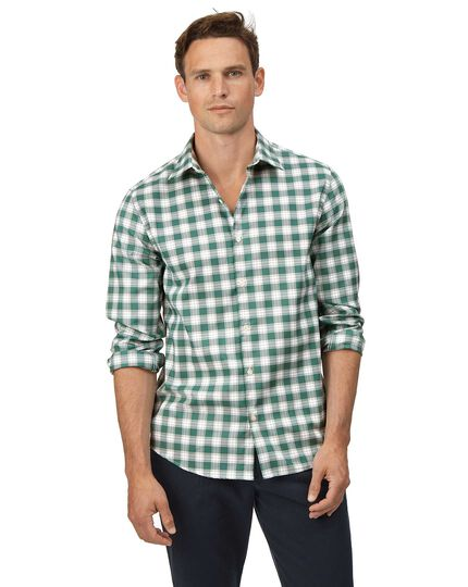Extra slim fit soft washed non-iron stretch Oxford green and white check shirt