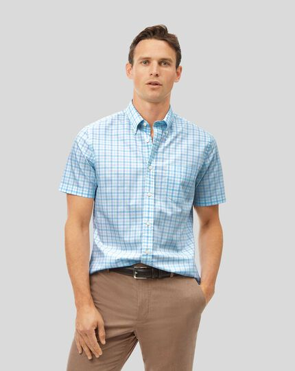 Button-Down Collar Short Sleeve Soft Washed Stretch Poplin Check Shirt - Light Green & Blue