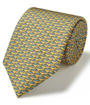 Yellow and sky silk animal print classic tie