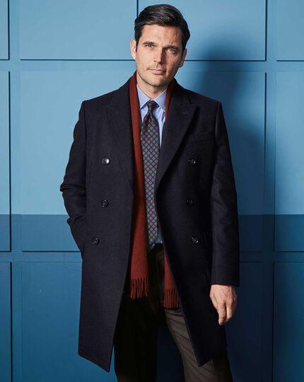 Navy Italian wool and cashmere Epsom overcoat