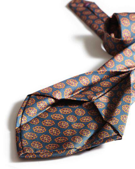 Teal silk medallion print English 7-fold luxury tie