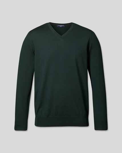 Merino V-Neck Jumper - Forest Green