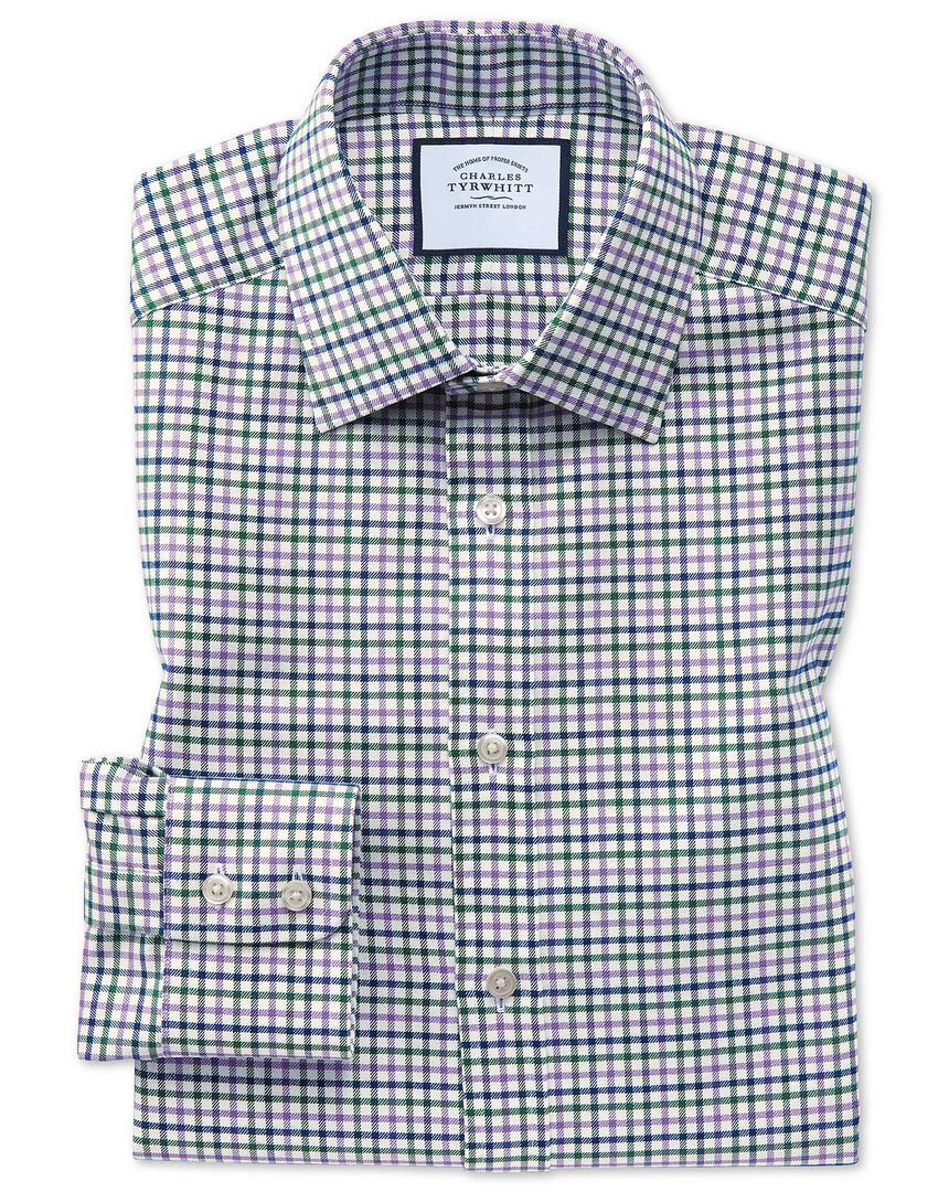 Slim fit purple and green country check shirt