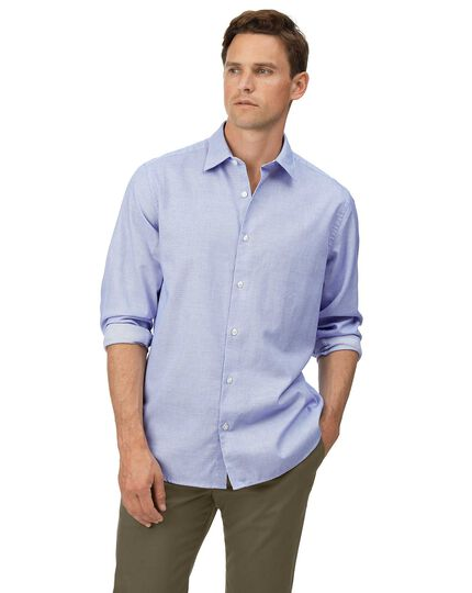 Classic fit sky blue grid texture soft wash textured shirt