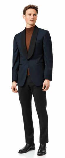 Teal jacquard slim fit shawl collar dinner suit