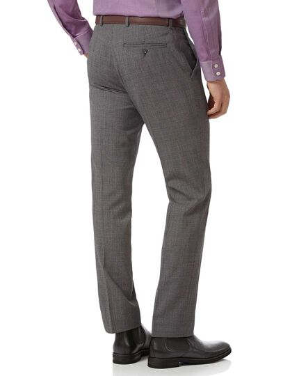 Grey slim fit jaspe check business suit trousers