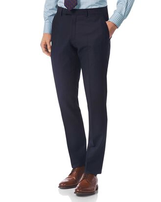 Navy slim fit textured Italian suit pants