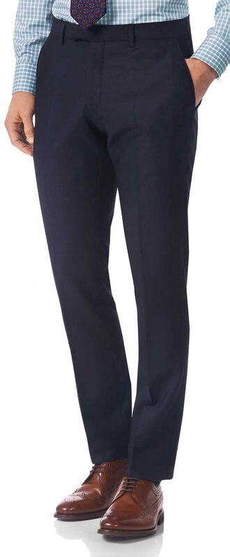 Navy slim fit textured Italian suit trousers
