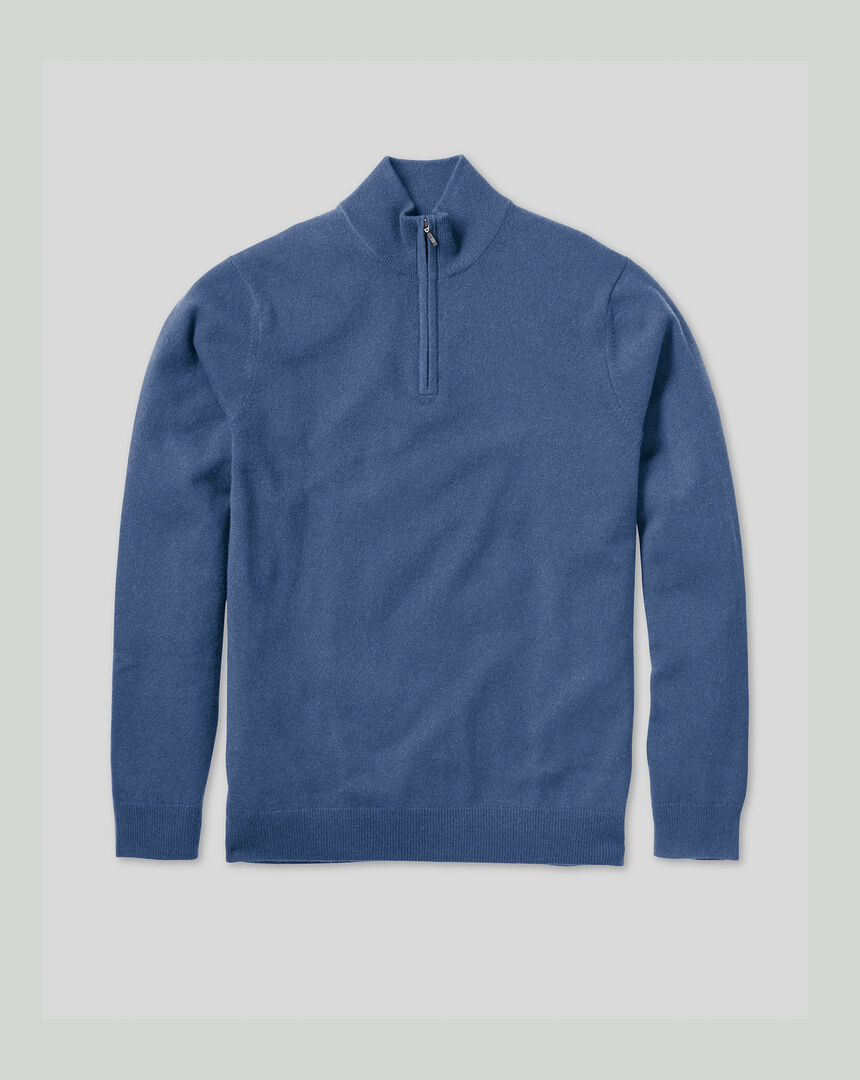 Cashmere Zip Neck Jumper - Blue