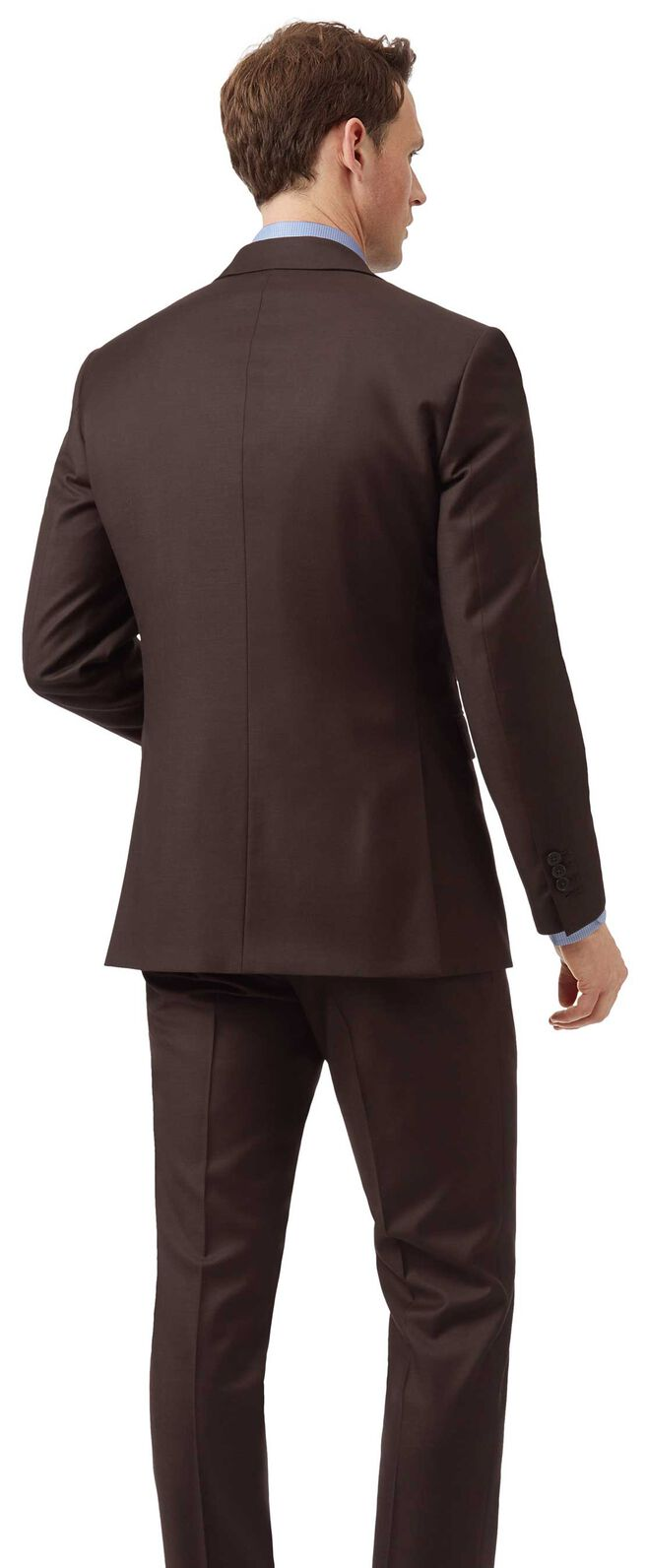 Brown slim fit twill business suit