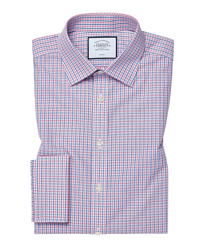 Slim fit non-iron poplin blue and red shirt