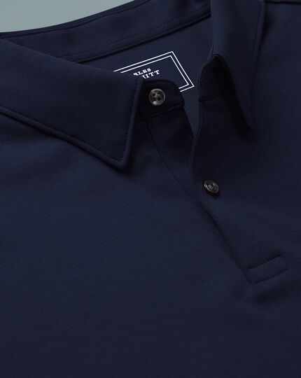 Navy plain short sleeve jersey polo