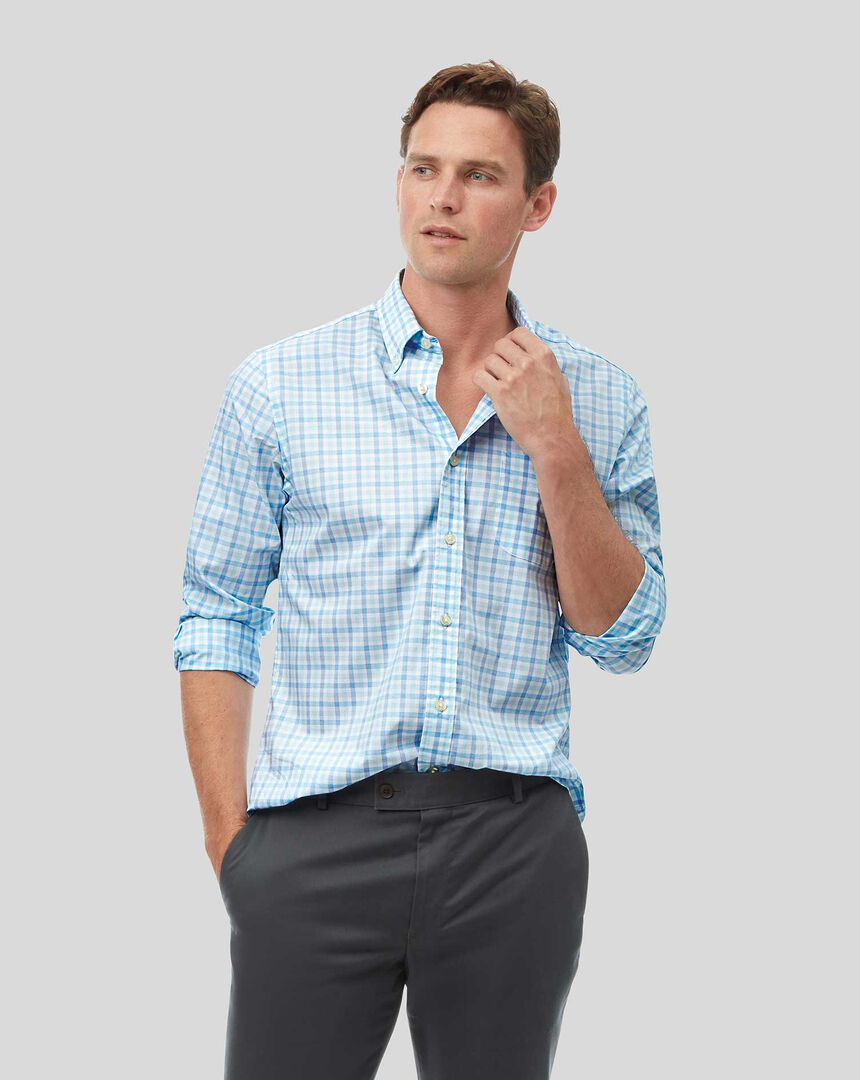 Button-Down Collar Soft Washed Stretch Poplin Check Shirt - Light Green & Blue