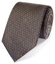 Rust and blue silk triangle geometric classic tie