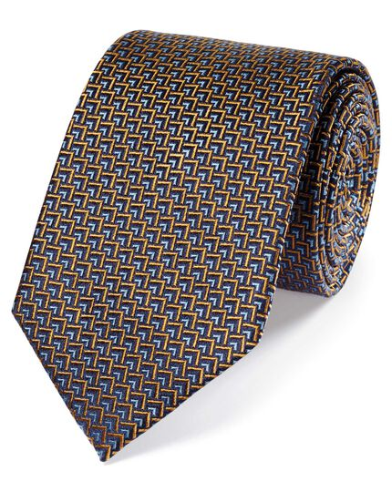 Rust and blue silk triangle geometric classic tie