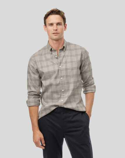 Button-Down Collar Soft Washed Non-Iron Twill Check Shirt - Taupe