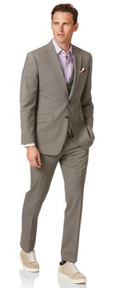 Natural puppytooth slim fit Panama business suit