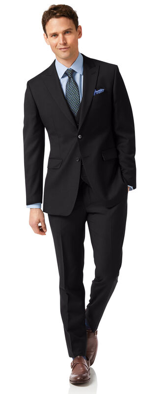 Black slim fit twill peak lapel business suit