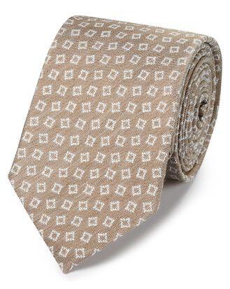 Cravate classique beige en lin et soie à motif