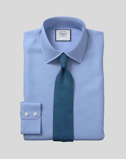 Hemd aus ägyptischer Baumwolle mit Kent-Kragen und Fischgrätmuster - Himmelblau