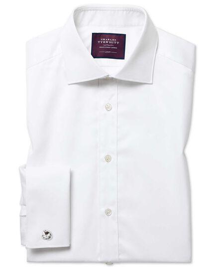 Classic fit semi-cutaway luxury twill white shirt