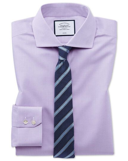 Non-Iron 4-Way Stretch Check Shirt - Lilac