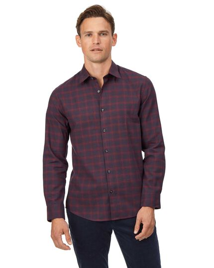 Extra slim fit cotton with TENCEL™ burgundy check shirt
