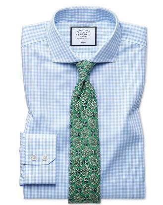 Slim fit non-iron sky blue check natural cool shirt