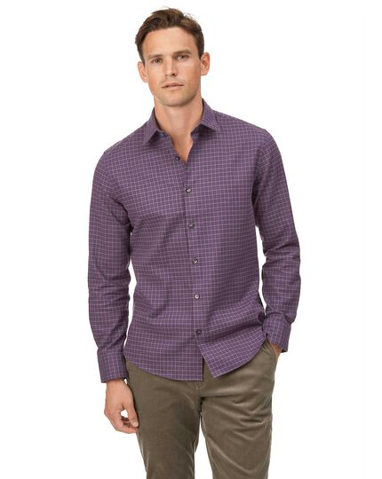 Extra slim fit cotton with TENCEL™ purple multicheck shirt